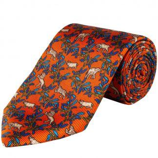 Cordings Orange Big 5 Silk Foulard 36oz Tie Main Image