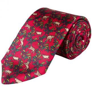 Cordings Red Big 5 Silk Foulard 36oz Tie Main Image