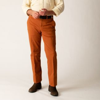 Cordings Red Rust Gabardine Trousers Different Angle 1