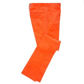 Cordings Orange Needlecord Trousers Main Image