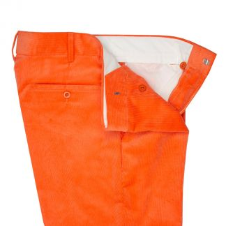Cordings Orange Needlecord Trousers Different Angle 1