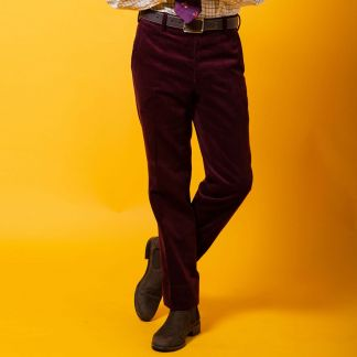 Cordings Plum Needlecord Trousers Different Angle 1