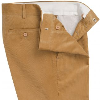 Cordings Mid Tan Needlecord Trousers Different Angle 1