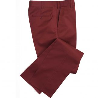 Cordings Garnet Red Flat Front Chino Trousers Main Image