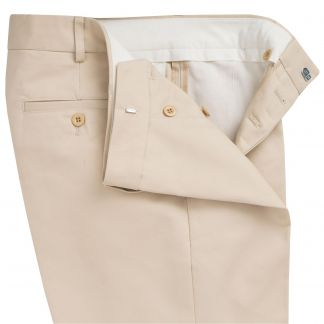 Cordings Cream Flat Front Chino Trousers Different Angle 1