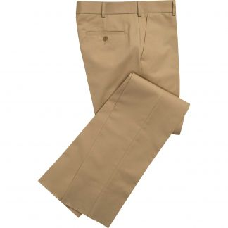 Cordings Gold Flat Front Chino Trousers Main Image