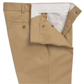 Cordings Gold Flat Front Chino Trousers Different Angle 1