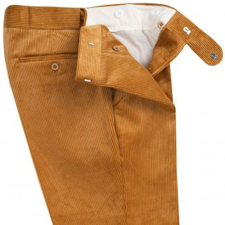 Cordings London Tan Corduroy Trousers Different Angle 1