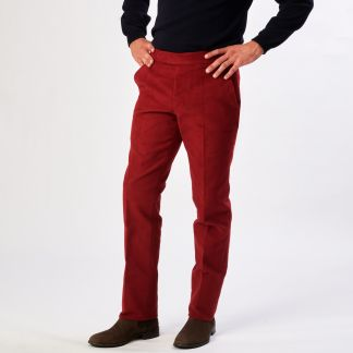 Cordings Wine Moleskin Trousers Different Angle 1