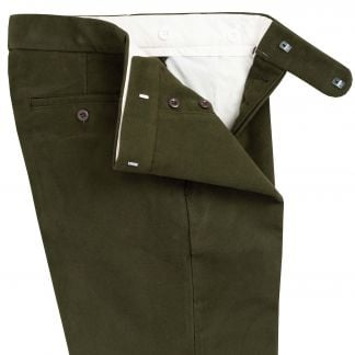 Cordings Olive Green Moleskin Trousers Different Angle 1