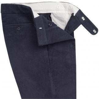 Cordings Navy Blue Moleskin Men's Trousers Different Angle 1
