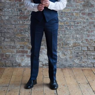 Cordings Navy Linen Trousers Different Angle 1