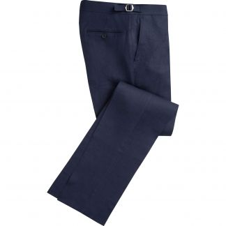 Cordings Navy Linen Trousers Main Image
