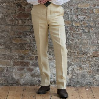 Cordings Sand Linen Trousers Different Angle 1