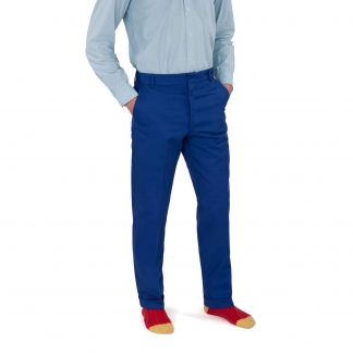 Cordings Zip Fly Royal Blue Chino Trousers Different Angle 1