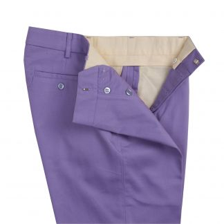 Cordings Button Fly Lilac Bright Chino Trousers Different Angle 1