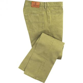 Cordings Apple Green Cotton Twill Jeans Main Image