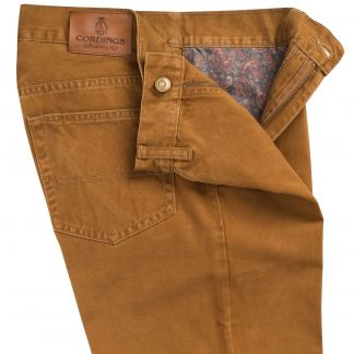 Cordings Dark Tan Cotton Twill Jeans  Different Angle 1