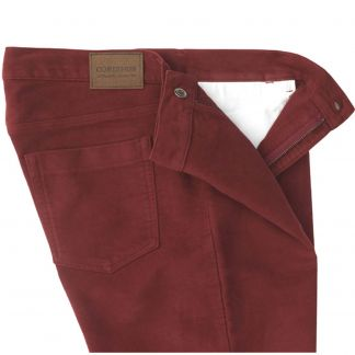 Cordings Garnet Red Moleskin Jeans  Different Angle 1