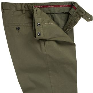 Cordings Dark Khaki Summer Gabardine Trousers Different Angle 1