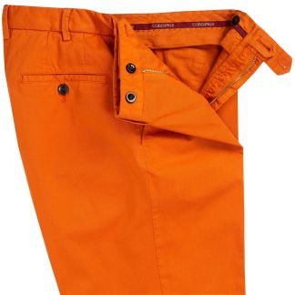 Cordings Bright Orange Summer Gabardine Trousers Different Angle 1