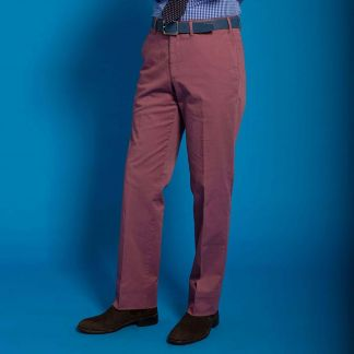 Cordings Brick Red Gabardine Trousers Different Angle 1