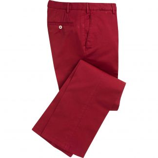 Cordings Berry Red Summer Gabardine Trousers Main Image