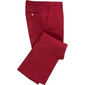 Cordings Berry Red Summer Gabardine Trousers Main Image