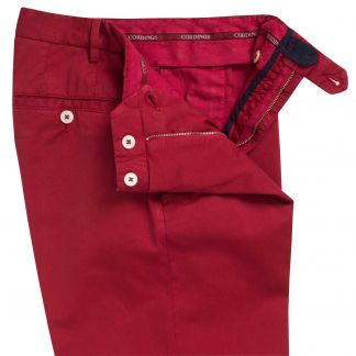Cordings Berry Red Summer Gabardine Trousers Different Angle 1