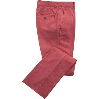 Cordings Brick Red Washed Twill Trousers Main Image
