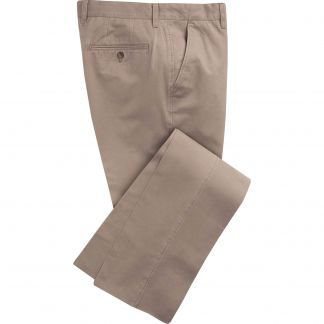 Cordings Taupe Washed Twill Trousers Main Image