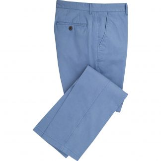 Cordings Sky Blue Washed Twill Trousers Main Image