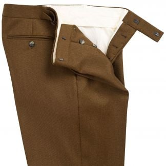 Cordings Khaki English Whipcord Side Adjuster Trousers Different Angle 1