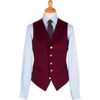Cordings Burgundy Collared Doeskin Waistcoat Main Image