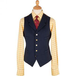 Cordings Navy Blue Collared Doeskin Waistcoat Main Image
