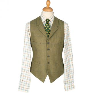 Cordings House Check Tweed Collared Waistcoat  Main Image