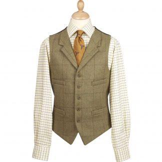 Cordings 21oz Windowpane Tweed Collared Waistcoat  Main Image