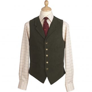 Cordings Olive Collared Green Doeskin Waistcoat Main Image
