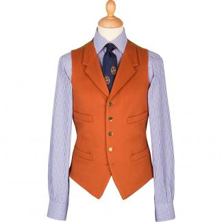 Cordings Orange Rust Collared Doeskin Waistcoat Main Image