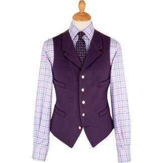 Cordings Deep Purple Collared Doeskin Waistcoat Main Image