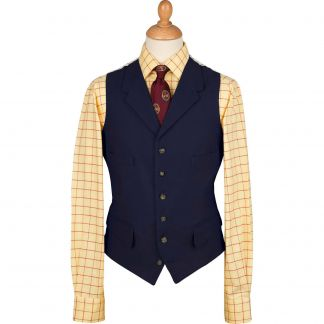 Cordings Navy Collared Moleskin Waistcoat Different Angle 1