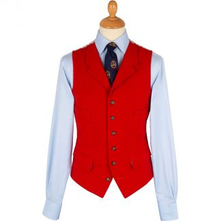 Cordings Bright Orange Collared Moleskin Waistcoat Main Image