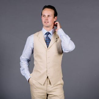 Cordings Sand Linen Waistcoat Different Angle 1