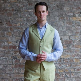 Cordings Light Green Linen Waistcoat Different Angle 1