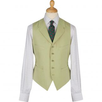 Cordings Light Green Linen Waistcoat Main Image
