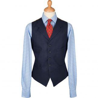 Cordings Navy Linen Waistcoat Main Image