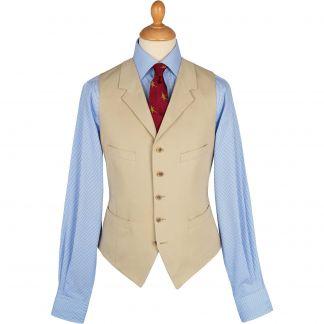 Cordings Khaki  Cotton Parade Fine Drill Waistcoat Main Image