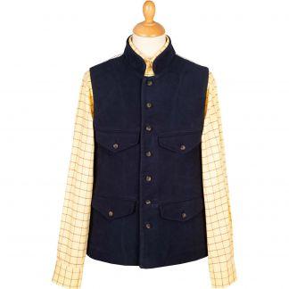 Cordings Navy Moleskin Field Waistcoat Main Image