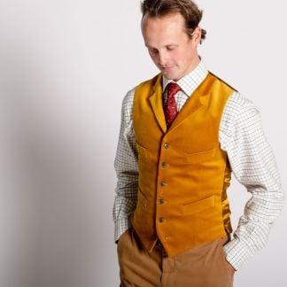 Cordings Gold Collared Velvet Waistcoat Different Angle 1