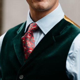 Cordings Bottle Green Collared Velvet Waistcoat Different Angle 1